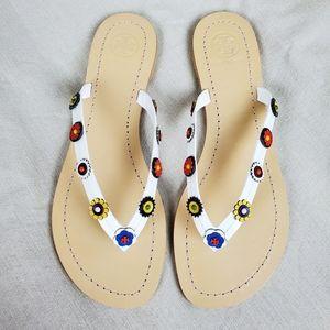 TORY BURCH White Marguerite Terra Thong Sandals